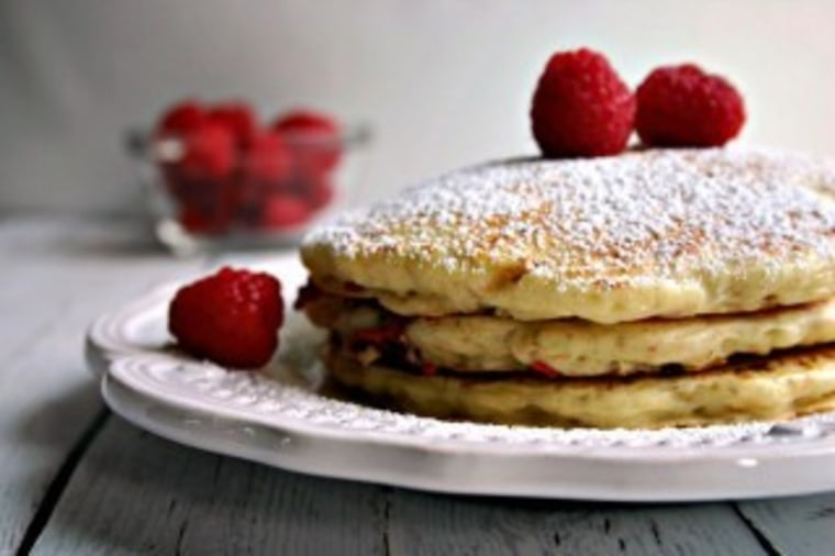 Raspberry oatmeal pancakes