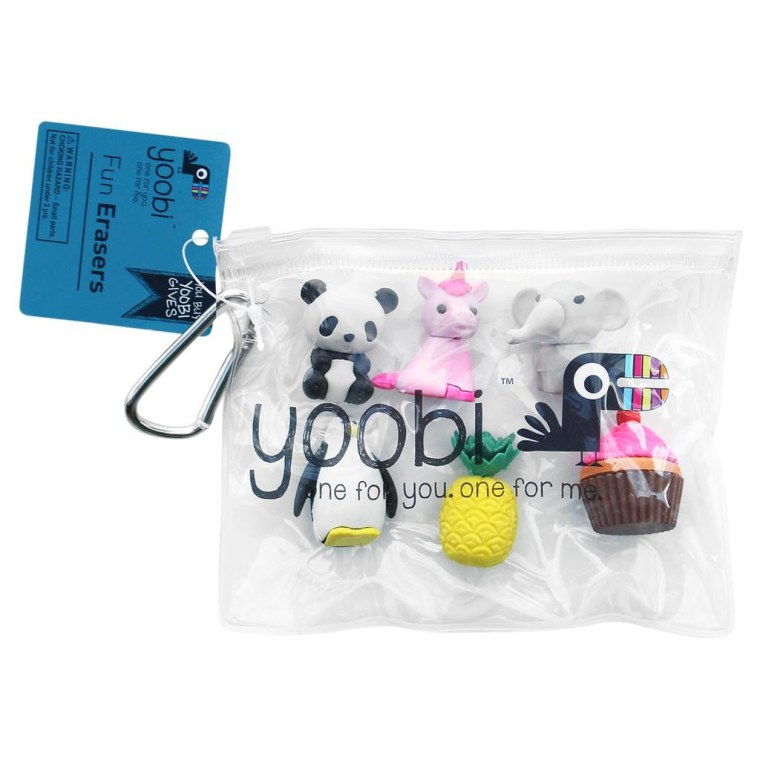 Target Yoobi 3D Shape Animal and Food Erasers in Plastic Bag with Clip