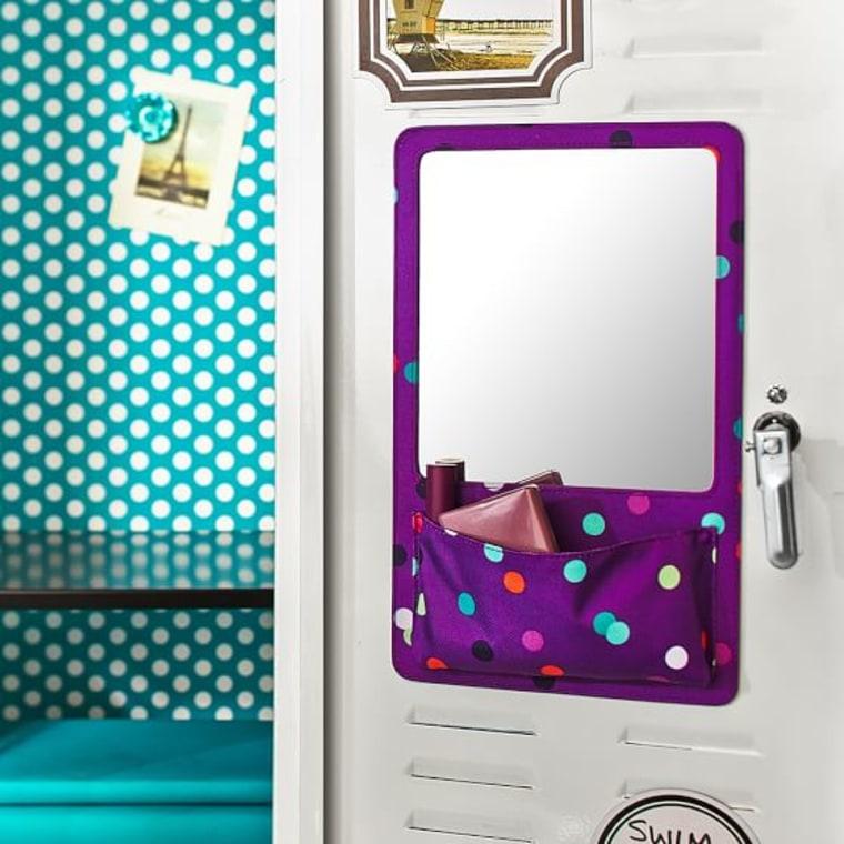 PB Teen Gear-Up Purple Confetti Dot Locker Mirror