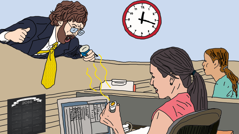 Coworker eating smelly lunch at office desk