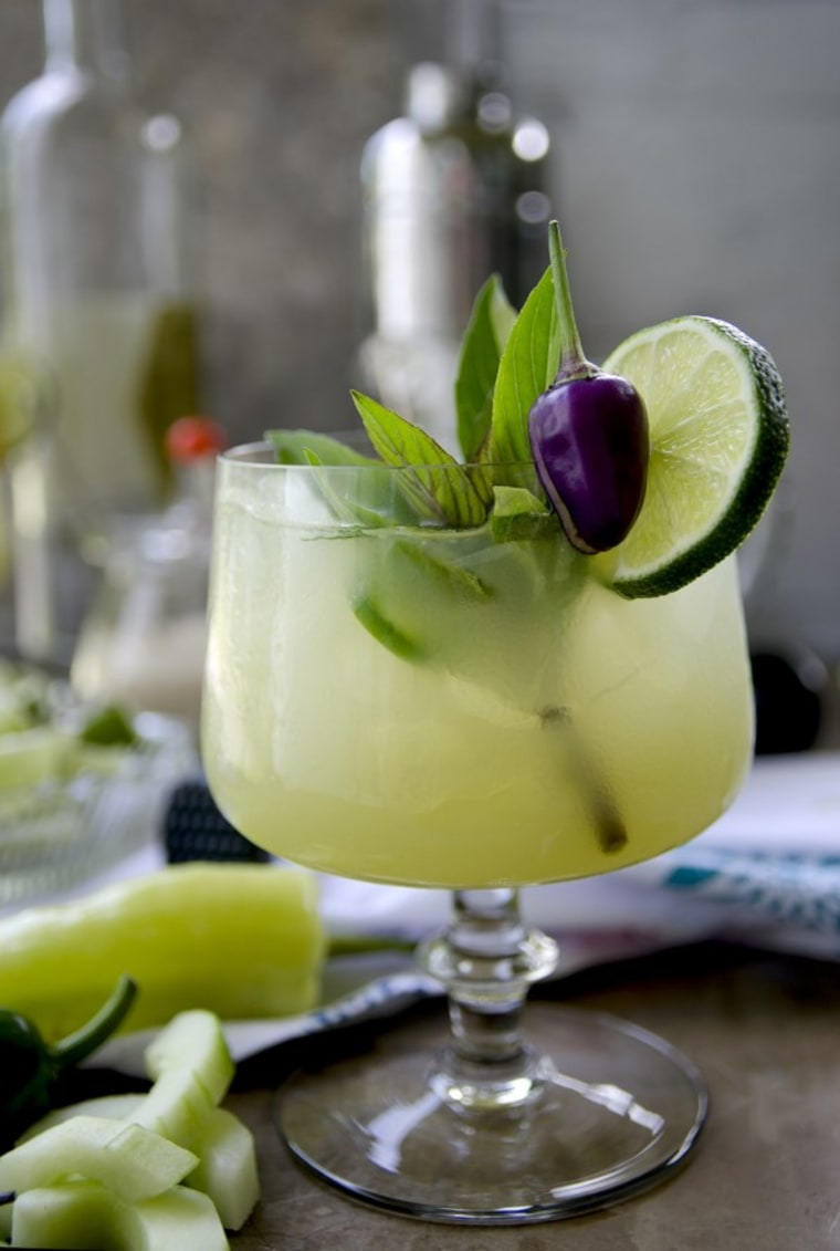 Spicy Thai basil cucumber cocktail