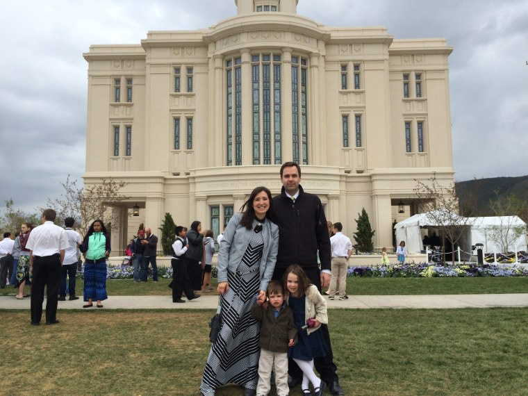 Nelda McAllister with her family at the open house of the LDS Temple in Payson Utah, 2015.