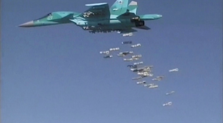 Image: A Russian jet carries out an airstrike over Syria