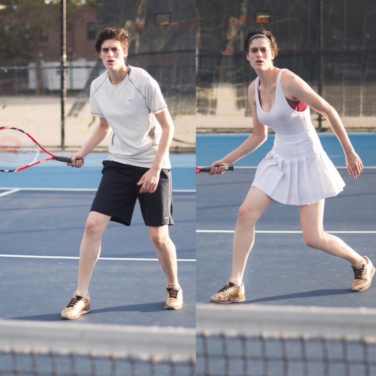 Model Rain Dove poses in both typical male and female tennis athletic wear.