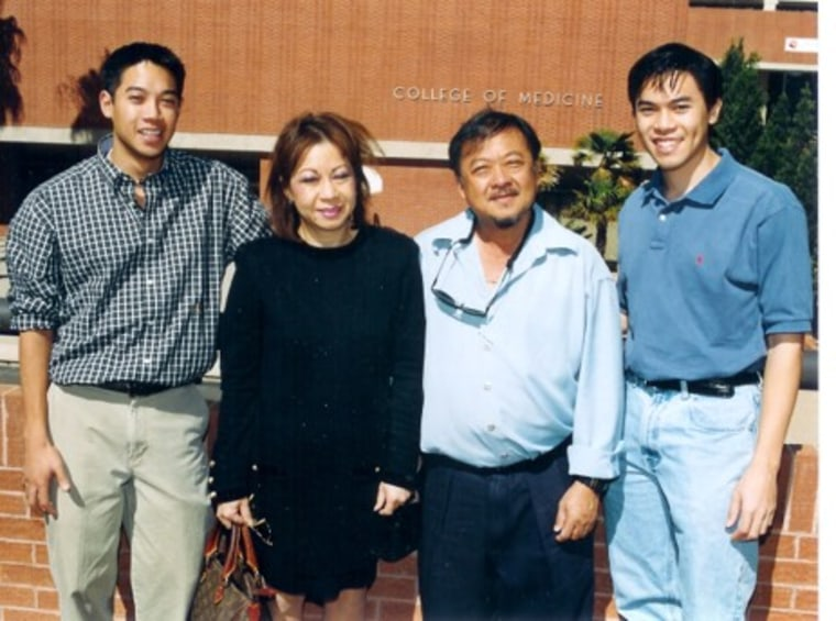 Hau with his family during college.