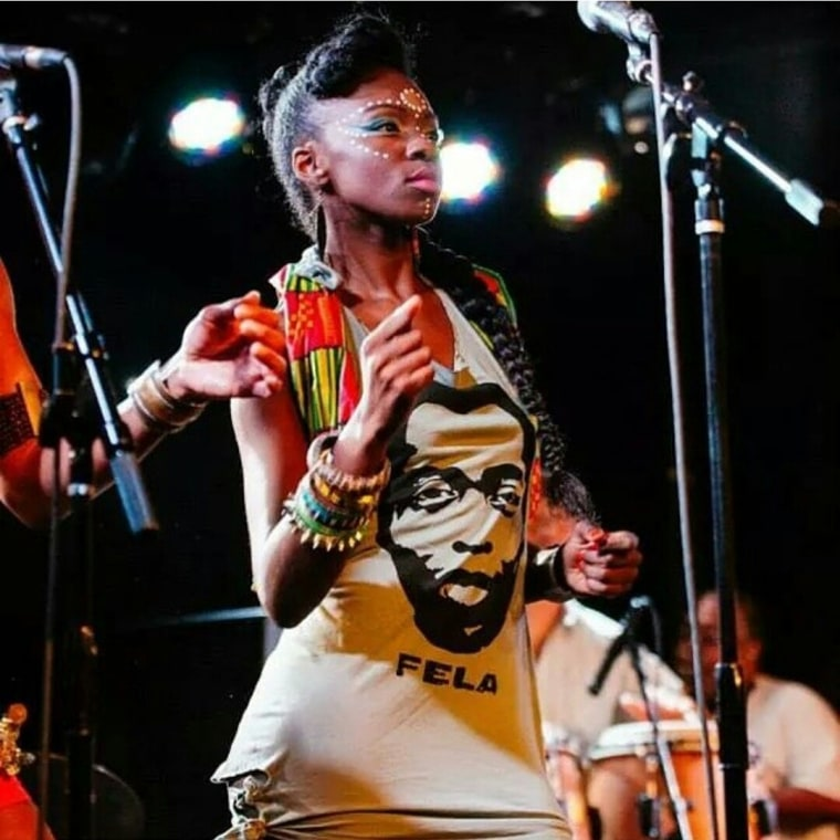 "Marshall, a band member of Chop and Quench, ""The Fela! Band"" performs at a concert in Brooklyn, NY in 2014."