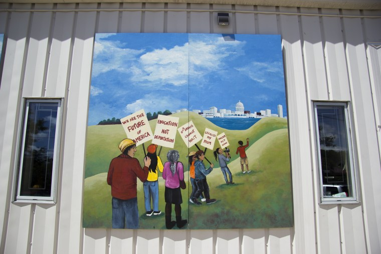 A mural outside of Centro Hispano, a Latino community center in Madison, Wisconsin.