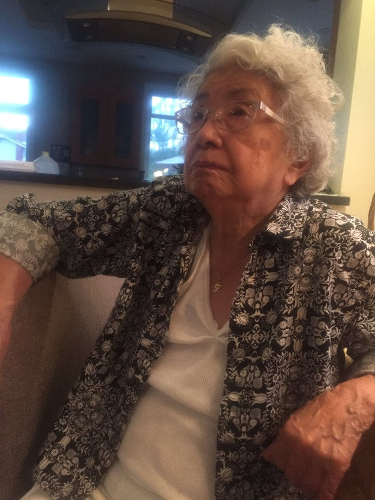 93-year-old Mitsuye Yamada tearing up as she watches Hillary Clinton's presidential nomination acceptance speech.