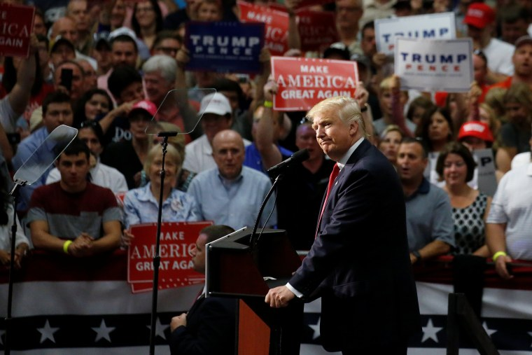 Image: Republican presidential nominee Donald Trump speaks onstage during a campaign rally in Akron