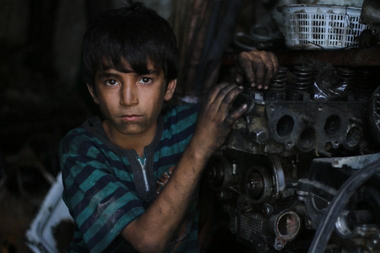 Mohamad, 11, left school in the second grade.