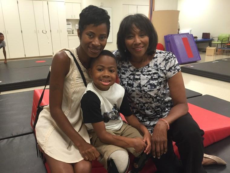 Zion with his mom Pattie and NBC News correspondent Rehema Ellis.