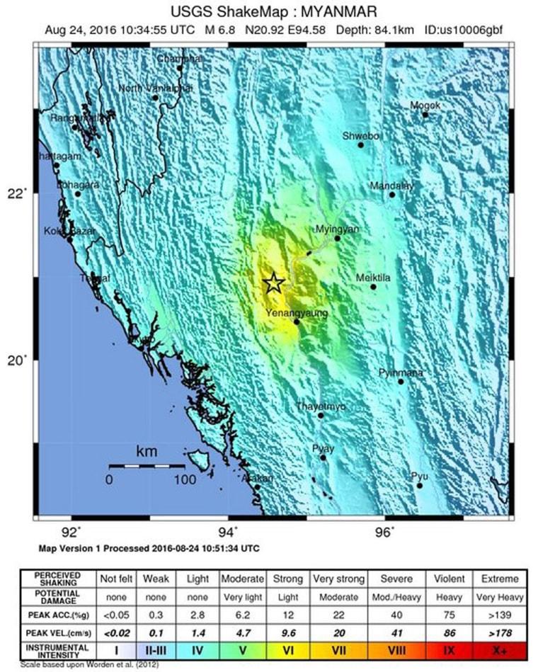 Image: 6.8 magnitude earthquake hits central Myanmar