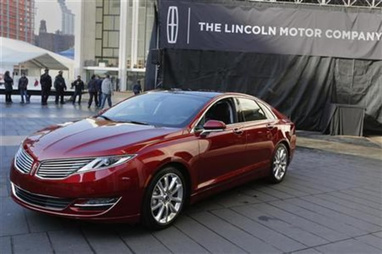 The Lincoln MKZ mid-size sedan is seen during news conference in New York