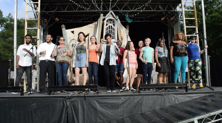 Porchlight Music Theatre's In The Heights cast performs at a special event in Kelvyn Park Chicago.