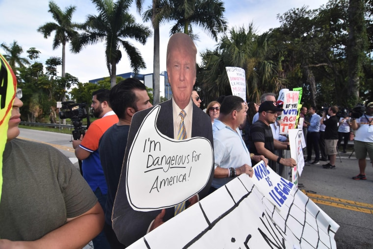 Image: US-VOTE-REPUBLICANS-TRUMP-PROTEST