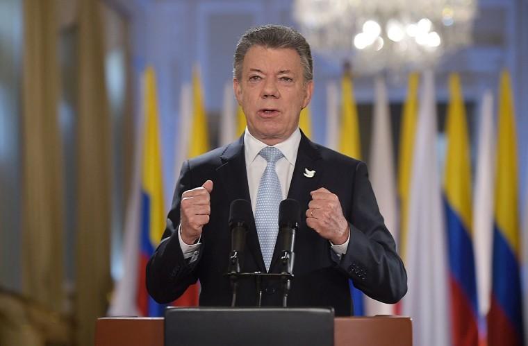 Colombian President Juan Manuel Santos speaking on August 24, 2016 in Bogota, Colombia