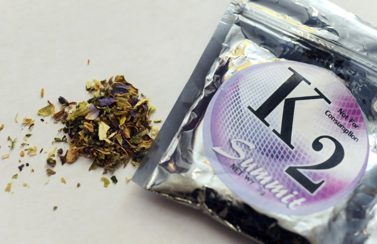 FILE - This  Feb. 15, 2010, file photo shows a package of K2, a concoction of dried herbs sprayed with chemicals.