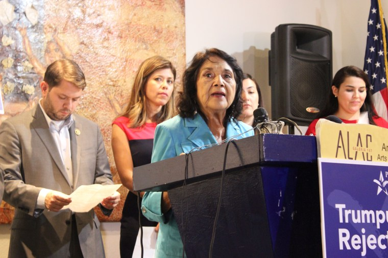 """Dolores Huerta spoke Thursday in Phoenix as part of a campaign denouncing Trump and """"Trumpublicans,"""" GOP candidates and leaders who support Trump."""