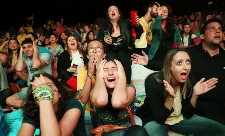 Image: Brazilians react during the second half before their team defeated Germany to win the soccer gold medal