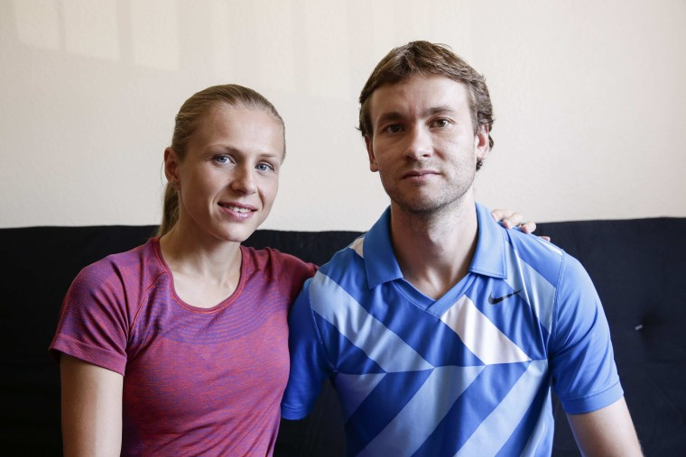 Image: Russian Olympian couple Yuliya and Vitaly Stepanovs