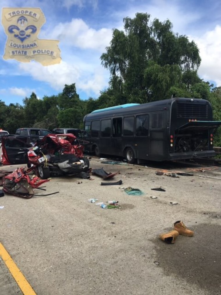 A fatal crash on Interstate 10 in Louisiana killed two and injured dozens.