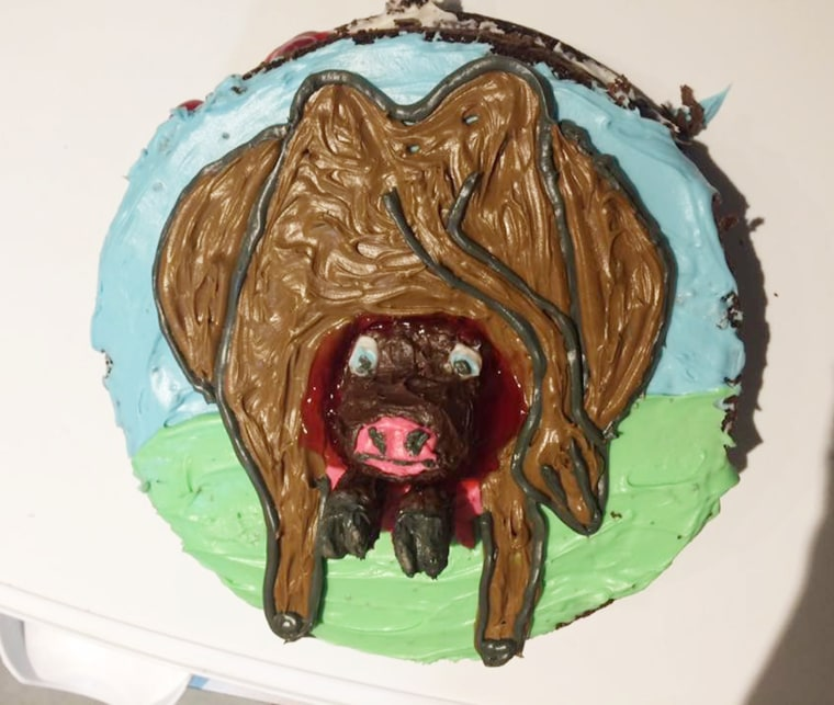 Jamie Packard made a cow giving birth to a calf birthday cake for her son Benz???s fourth birthday.