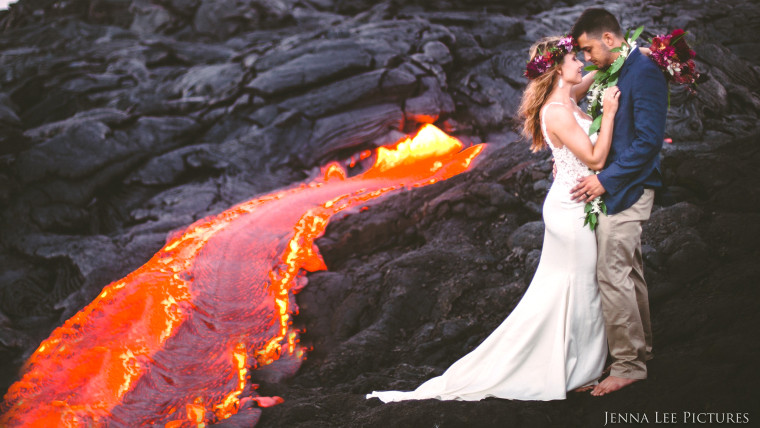 Adventurous Couple Takes Wedding Pics On Volcano With Molten Lava