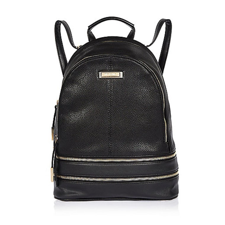 River Island Black Leather Look Backpack