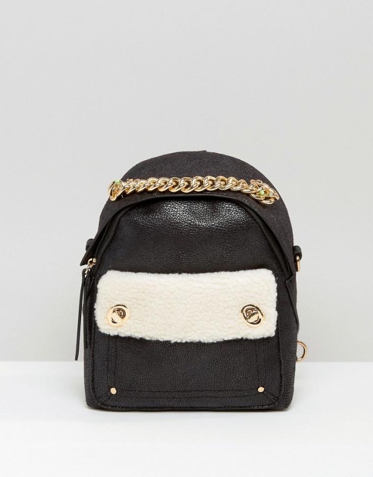 New Look Mini faux shearling backpack
