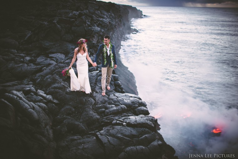 Lauren and Alex Michaels photographed on an active volcano by Jenna Lee