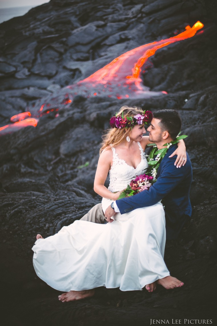 Flowing lava on a live volcano shot by Jenna Lee in Hawaii