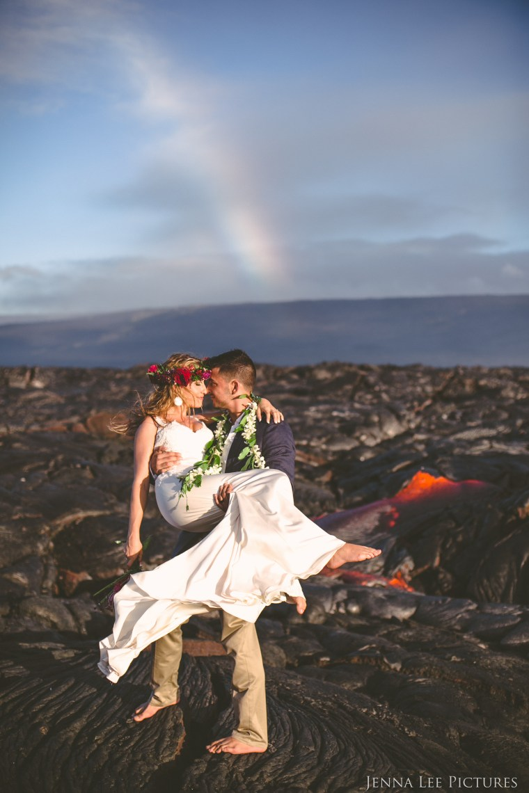 Wedding photos on a live volcano shot by Jenna Lee