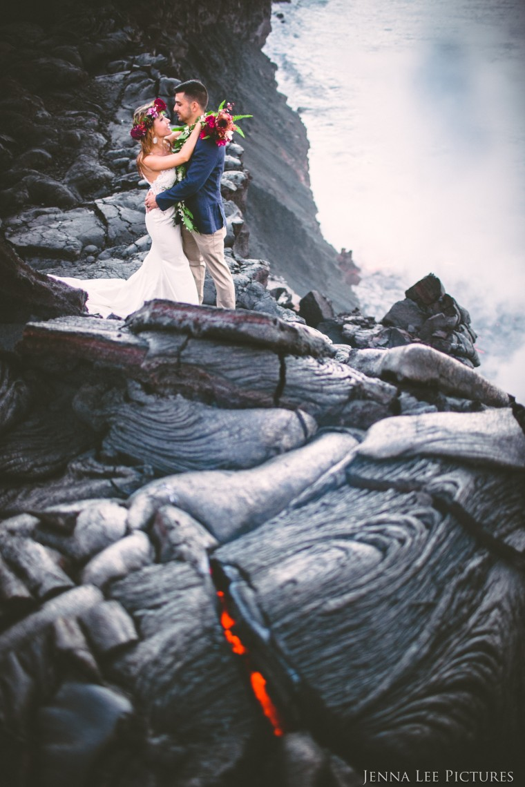 Alex and Lauren Michaels photographed on a live volcano by Jenna Lee