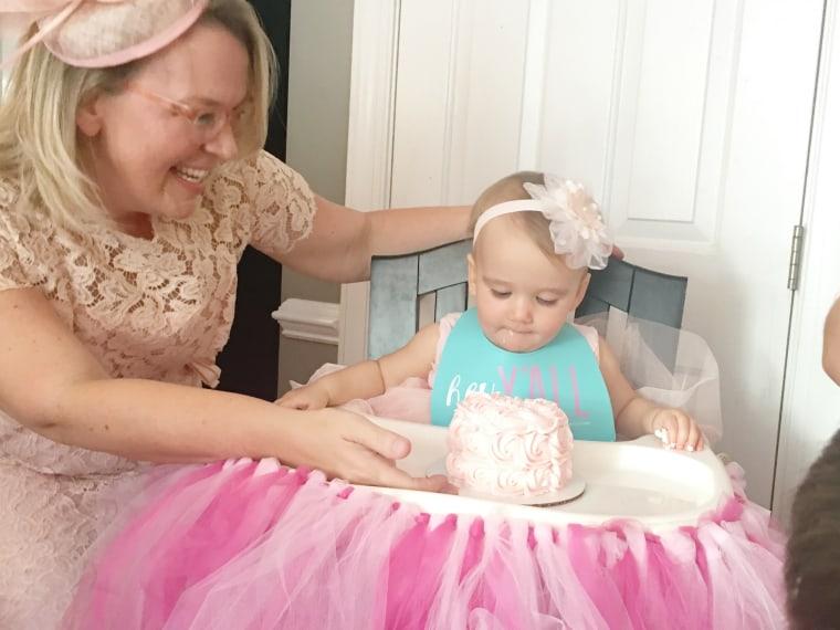 Ruby celebrating her first birthday.