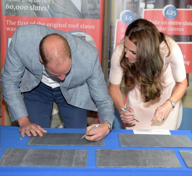 Duchess Kate and Prince William sign slates for Truro Cathedral's roof appeal