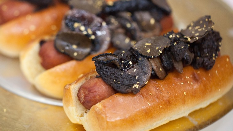 $200 hot dog featuring morel mushrooms, white truffles and aged balsamic vinegar