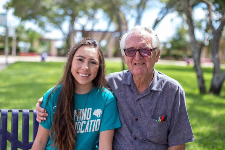 Melanie Salazar, 18, and her 82-year-old college classmate, and grandfather, Rene Neira.