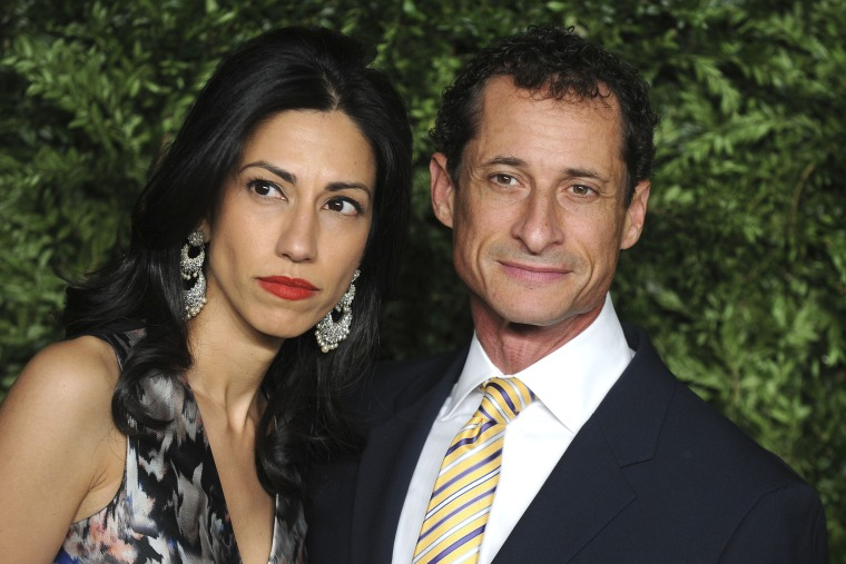 Huma Abedin and Anthony Weiner attend the 12th annual CFDA/Vogue Fashion Fund Awards at Spring Studios on Nov. 2, 2015 in New York.