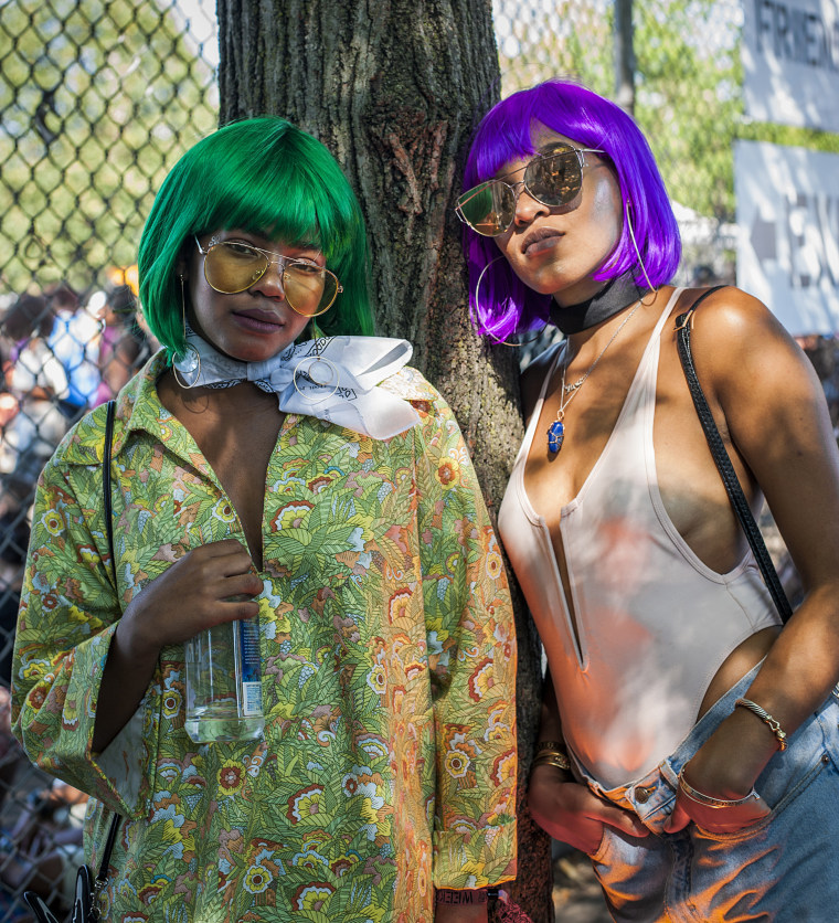 """Laura Walton, left: """"We're going through a lot of changes that should've taken place a long time ago... Afropunk gives us an opportunity to talk about it face to face, rather than on social media, which a lot of people say hides the true leaders of the movement. And I feel like the actual leaders of the movement are at festivals like this.""""  Daria Harper, right: """"I think we could use a little more unity as far as moving forward politically and economically... I feel we're a little bit too divided to make the proper moves we need in order to really reach a point of stability."""""""