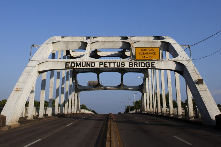 The Edmund Pettus Bridge was the site of Bloody Sunday, where more than 50 people were hospitalized after they were beaten and hit with tear gas by law enforcement officers. (Pinar Istek/News21)