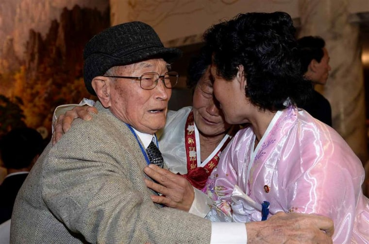 Ryu Young-Shik, left, 92, meets with his North Korean relatives.