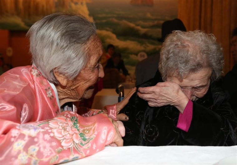 84-year-old Ri Jong Sil, left, meets with her South Korean sister Lee Young-sil, 87.