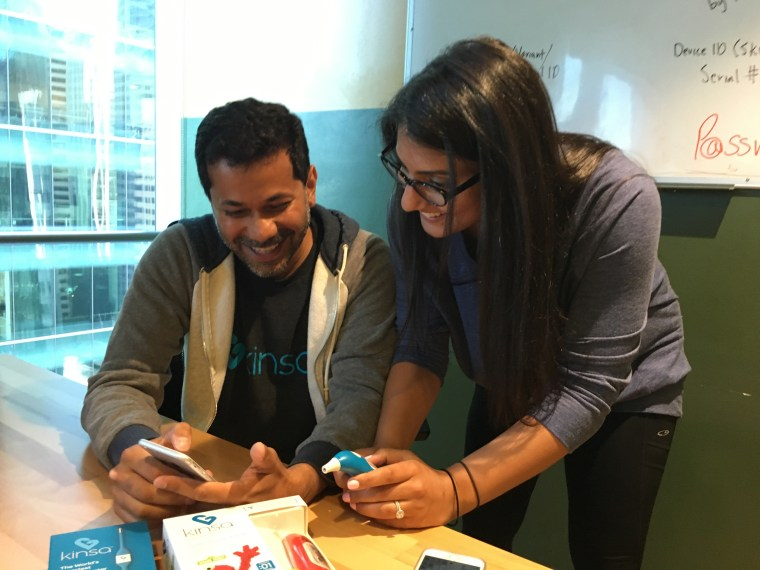 Inder Singh and Nita Nehru of Kinsa, a smart thermometer company, discuss their local health initiative at their office in San Francisco on August 26, 2016. Kinsa wants to make it easier to track and curb the spread of illness.
