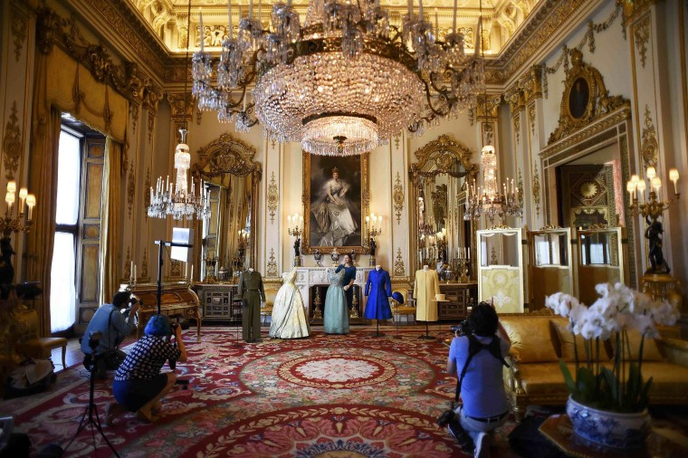 Image: A file photo of Buckingham Palace seen during a recent exhibition of the queen's historic dresses