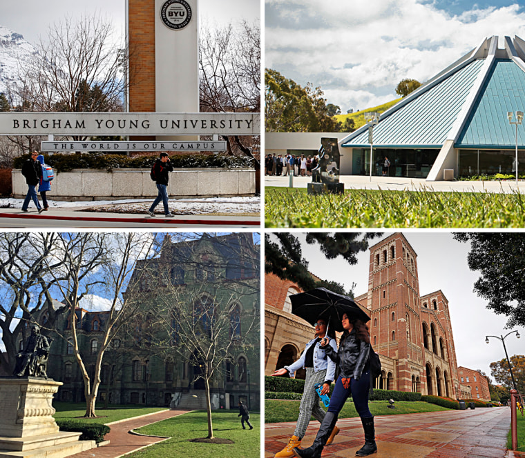 Clockwise from left, Brigham Young University, Concordia University Irvine, University of California, Los Angeles, and University of Pennsylvania.