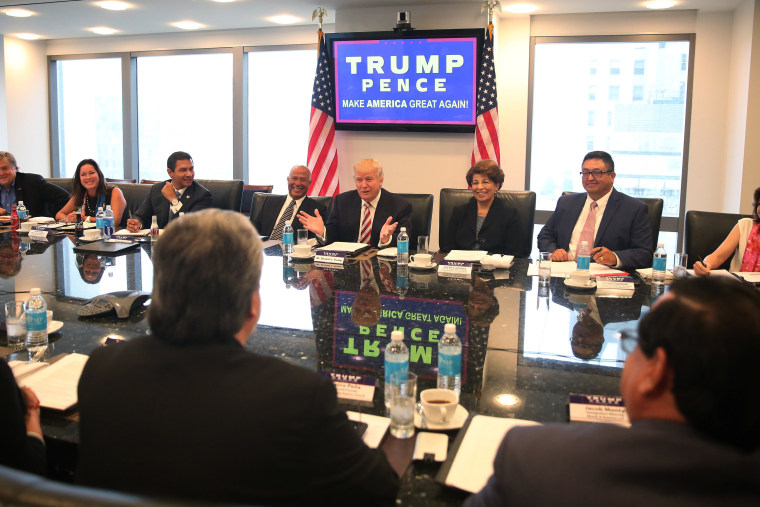 Image: Republican presidential nominee Donald Trump speaks during a meeting with his Hispanic Advisory Council at Trump Tower in the Manhattan borough of New York