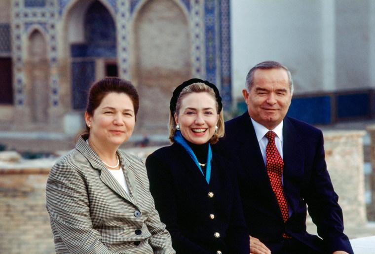 Image:  Tatiana Karimova, Hillary Clinton and Islam Karimov in 1997
