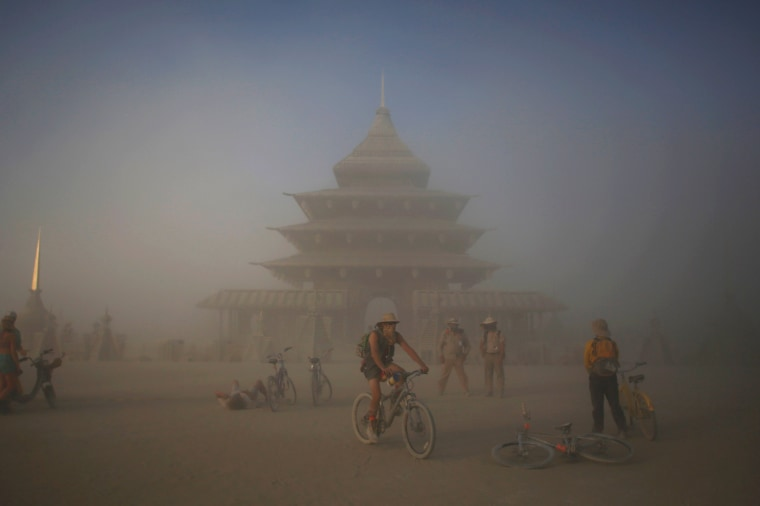 Image: People gather at the Temple Project at Burning Man on Tuesday