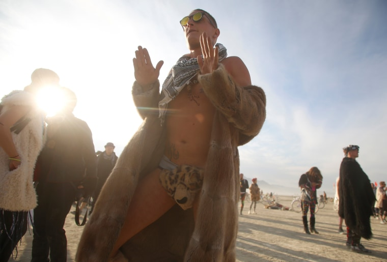 Image: Benny van der laarse dances on Tuesday at Burning Man