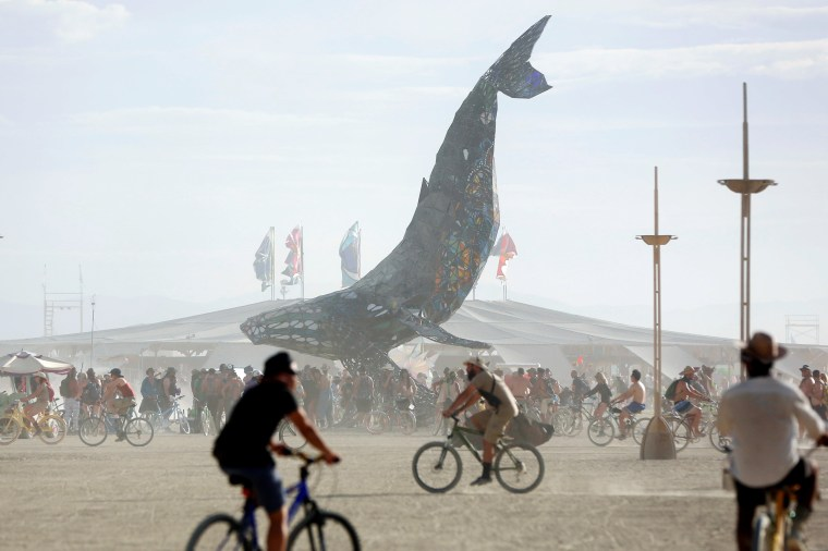 Image: Participants gather around The Space Whale art installation at Burning Man